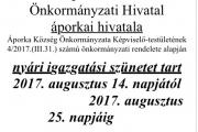 Igazgatási szünet 2017 augusztusban