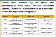 Menetrendi változás a Volánbusz 660 vonalán